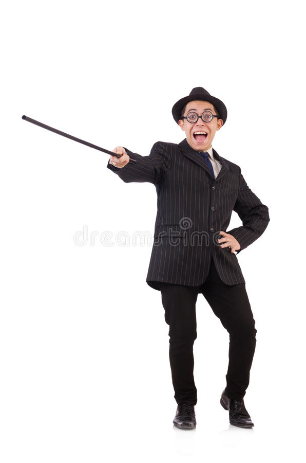 Caballero divertido en el traje rayado aislado en blanco foto de archivo libre de regalías
