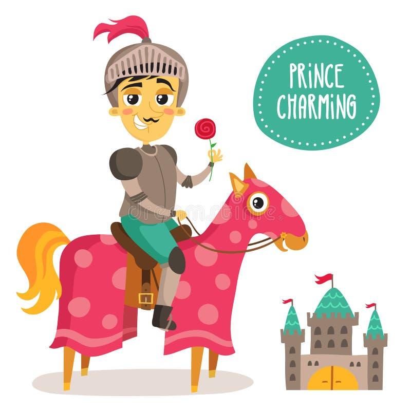 Caballero divertido en un caballo - príncipe Charming - con una flor y un SM ilustración del vector