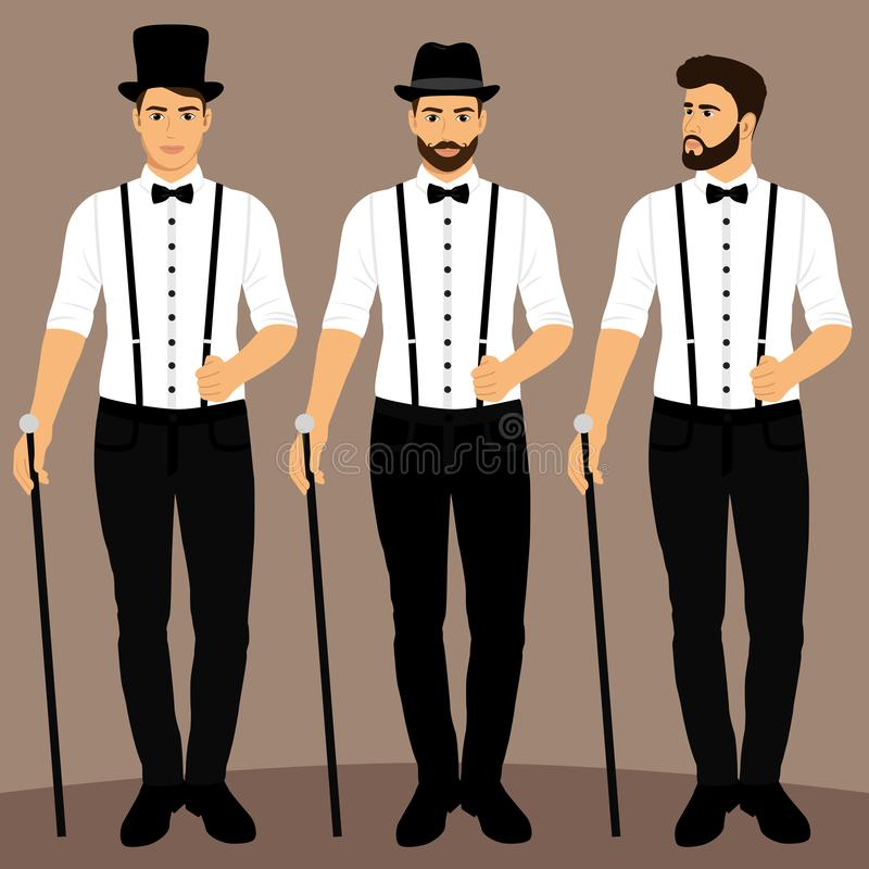 Caballero El novio ropa colección Casarse el traje de los hombres s, smoking ilustración del vector
