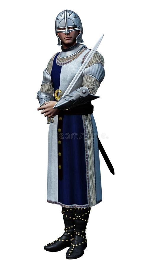 Caballero en armadura brillante stock de ilustración