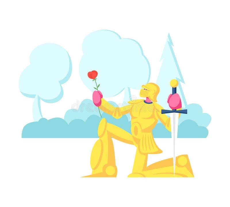 Caballero en armadura espumosa de oro en rodilla con espada y flor de rosa dando juramento o confesión de amor Histórico ilustración del vector