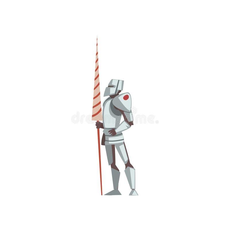 Caballero en el cuerpo completo Armor Suit, personaje de dibujos animados histórico medieval en el ejemplo tradicional del vector libre illustration