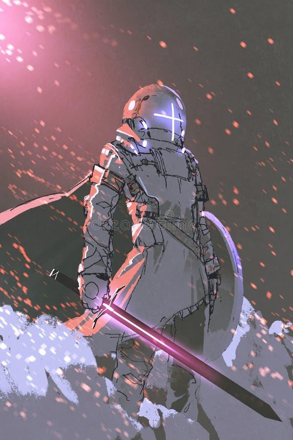 Caballero futurista con la espada que brilla intensamente ilustración del vector
