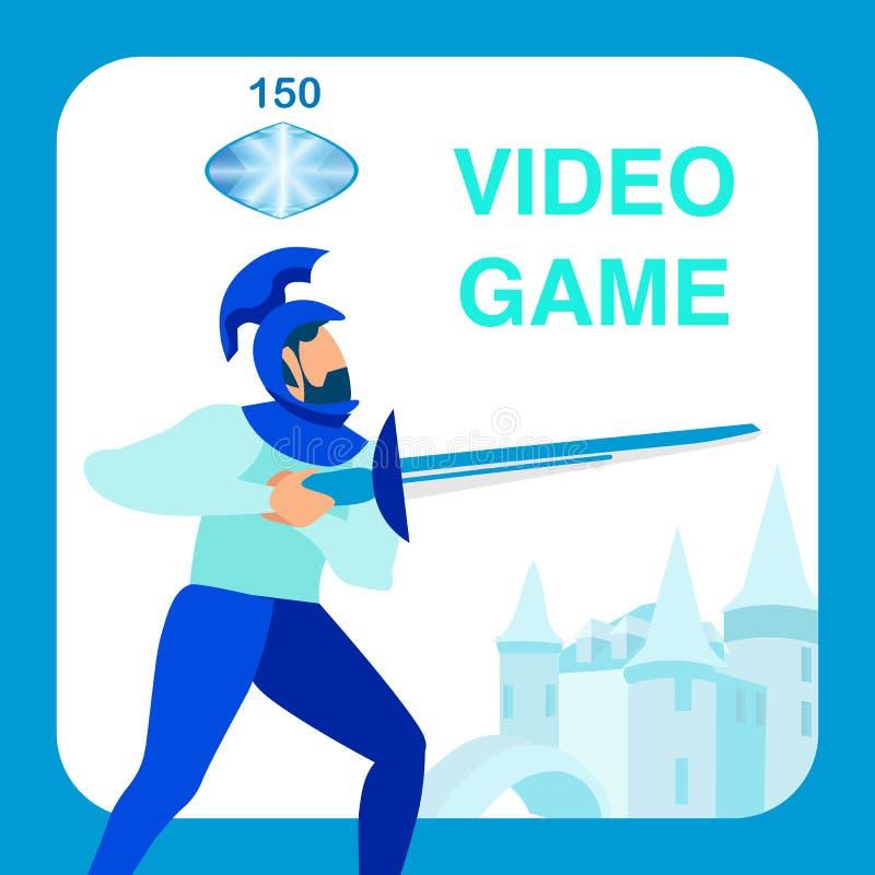 Caballero Holding Sword, personaje de dibujos animados del arma ilustración del vector
