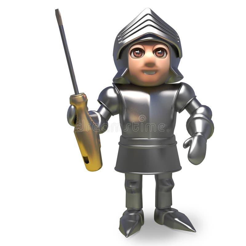 Caballero medieval acorazado que sostiene un destornillador de oro, ejemplo 3d libre illustration