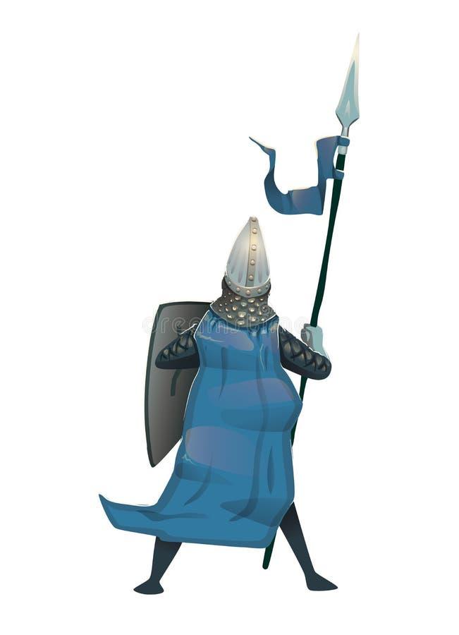 Caballero medieval con el escudo y la lanza, visión trasera Ejemplo plano del vector, aislado ilustración del vector