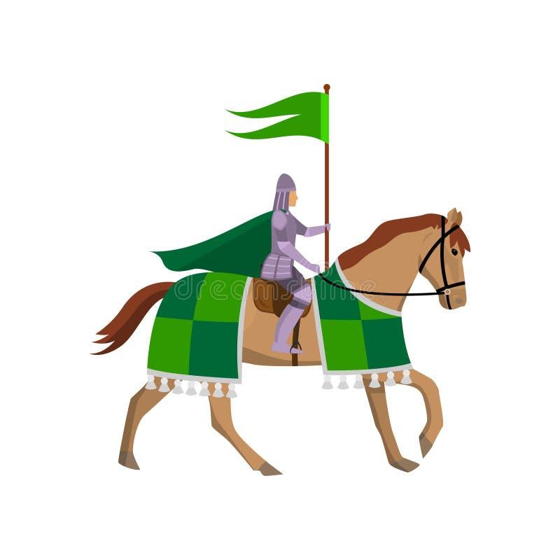 Caballero medieval con la bandera verde en la armadura de acero en el caballo libre illustration