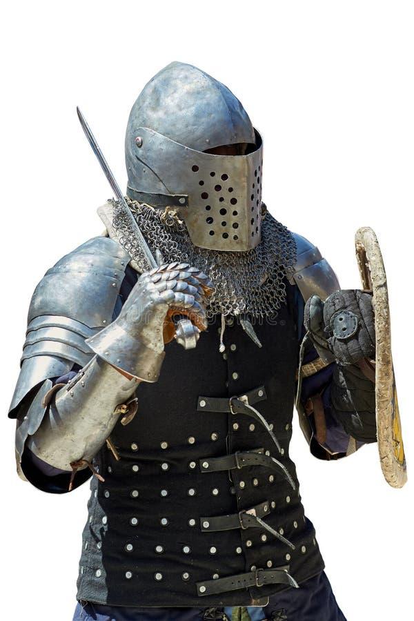 Caballero medieval con la espada y el escudo imágenes de archivo libres de regalías