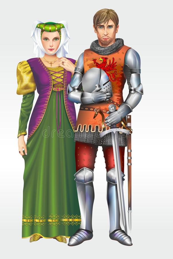 Caballero medieval con la esposa libre illustration