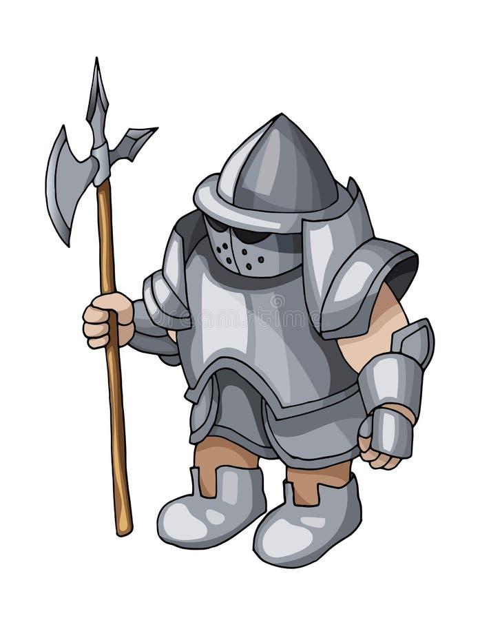 Caballero medieval de la historieta con el escudo y la lanza, aislados en el fondo blanco stock de ilustración