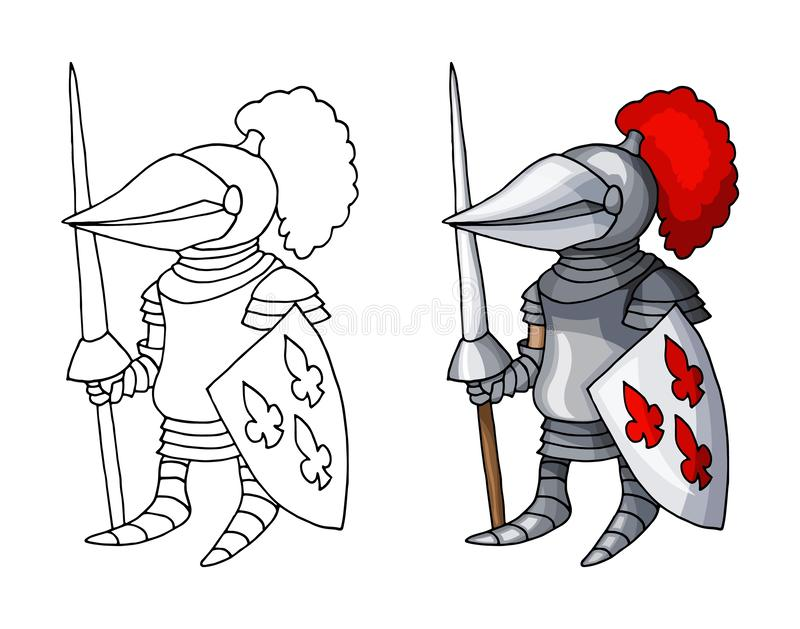 Caballero medieval de la historieta con el escudo y la lanza, aislados en el fondo blanco ilustración del vector