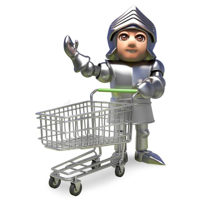 Caballero medieval de la historieta en la armadura que agita mientras que empuja una carretilla que hace compras, ejemplo 3d ilustración del vector