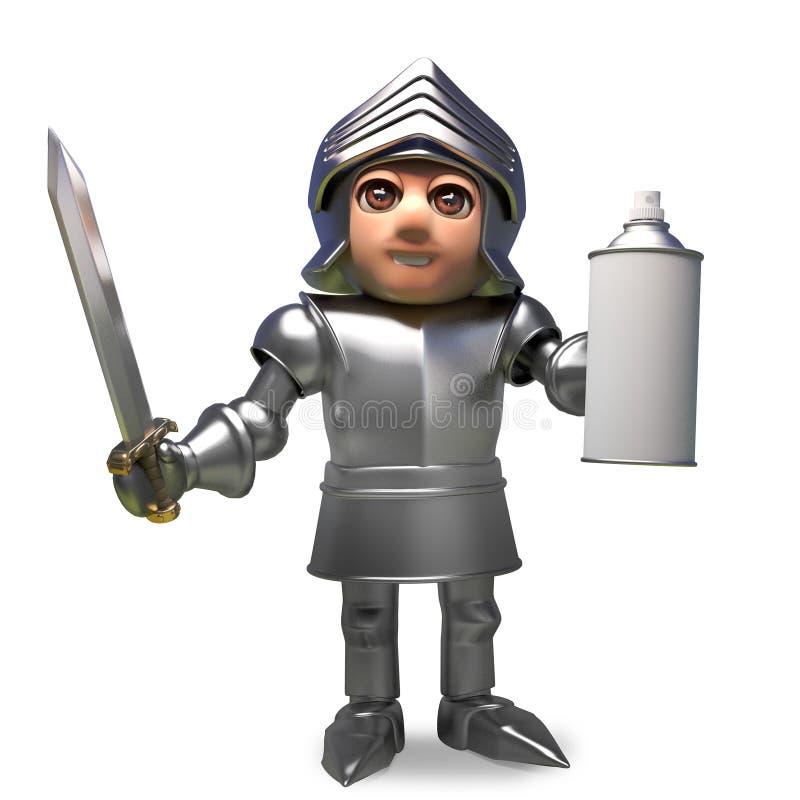 Caballero medieval de la historieta en la armadura que sostiene una poder de espray en blanco de aerosol, ejemplo 3d stock de ilustración