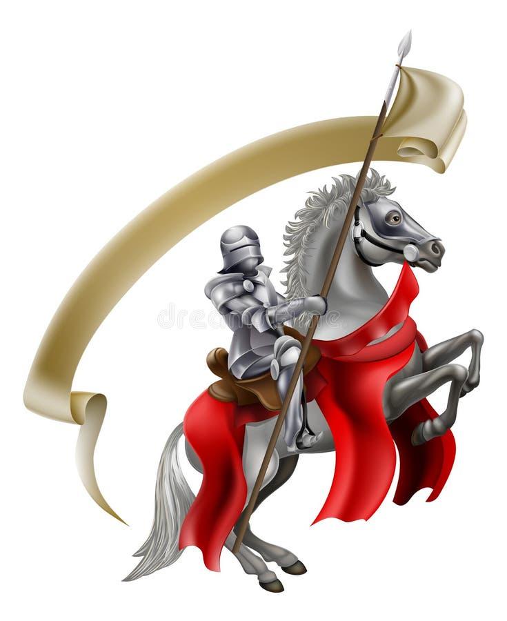Caballero medieval de la lanza en caballo ilustración del vector