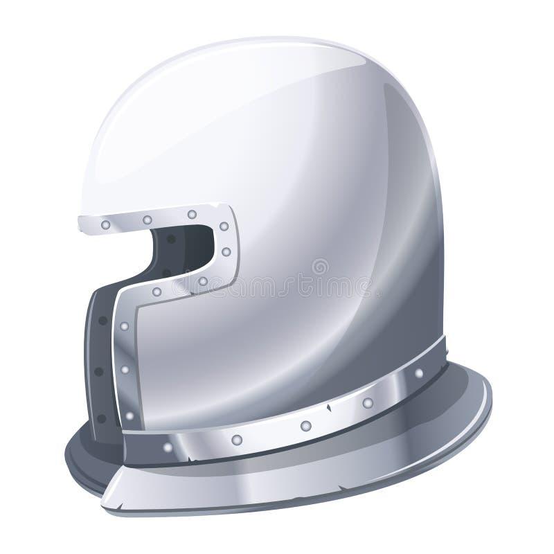 caballero medieval del casco del hierro ilustración del vector