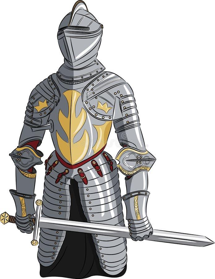 Caballero medieval del vector con la espada stock de ilustración