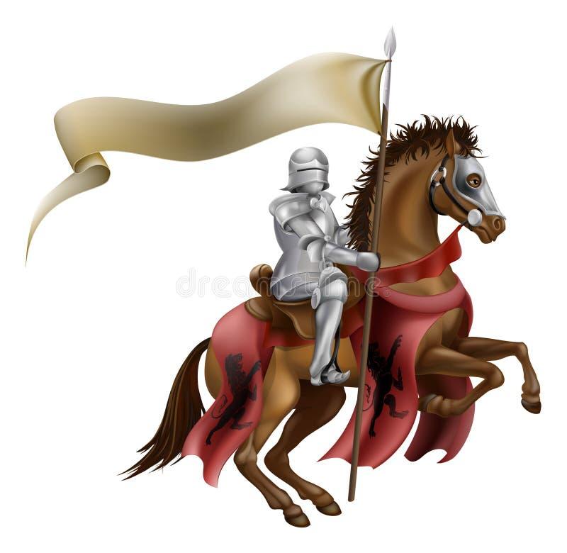 Caballero medieval en caballo libre illustration