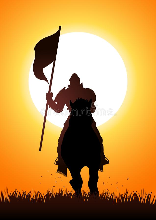 Caballero medieval en el caballo que lleva una bandera stock de ilustración