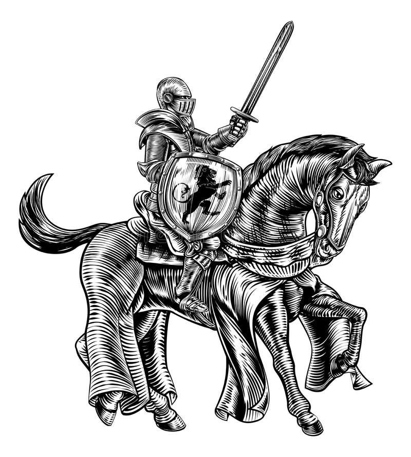 Caballero medieval en el grabado del bloque de madera del vintage del caballo ilustración del vector