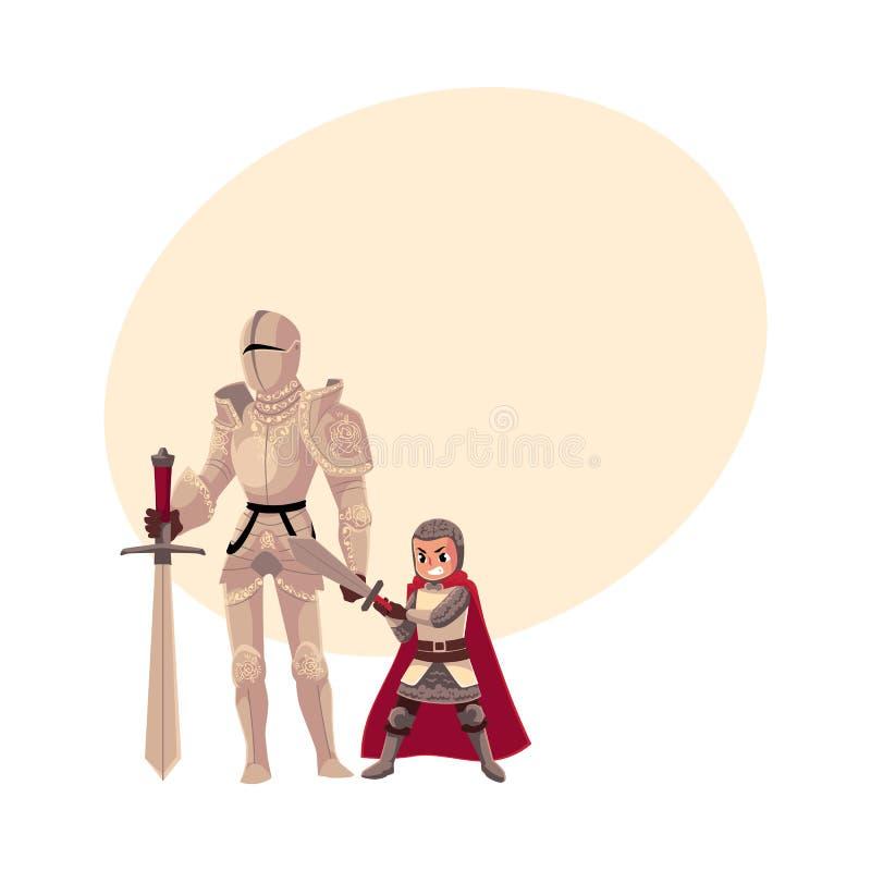 Caballero medieval en el traje y el portador adornados de la armadura, escudero del metal stock de ilustración