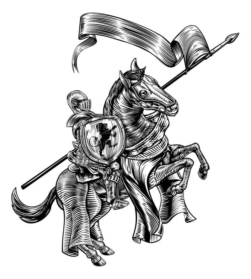 Caballero medieval en estilo del grabar en madera del vintage del caballo ilustración del vector