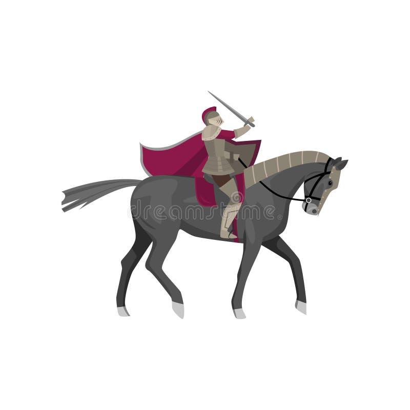 Caballero medieval en la armadura de acero en el caballo hermoso gris stock de ilustración
