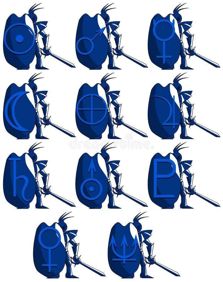 Caballero medieval estilizado con símbolos del planeta aislado ilustración del vector