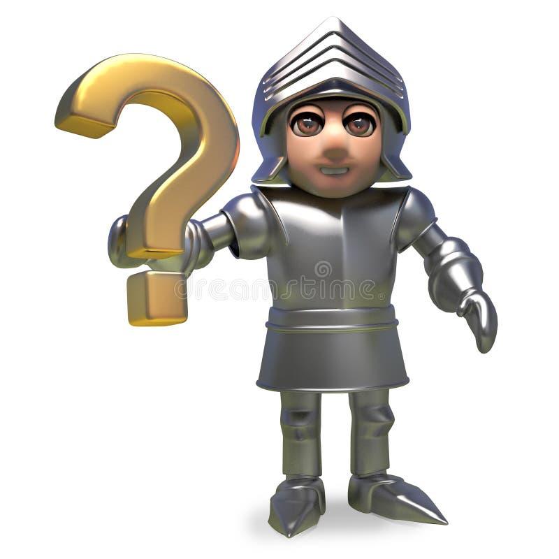 Caballero medieval noble en la armadura que lleva a cabo un símbolo del signo de interrogación del oro, ejemplo 3d libre illustration