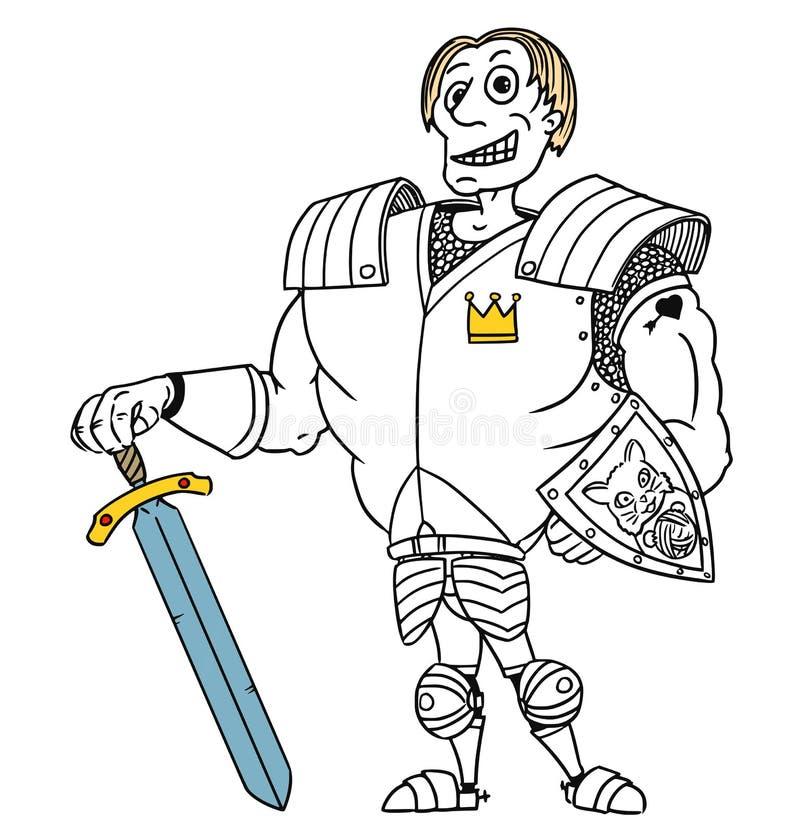 Caballero medieval Prince del héroe de la fantasía del vector de la historieta ilustración del vector