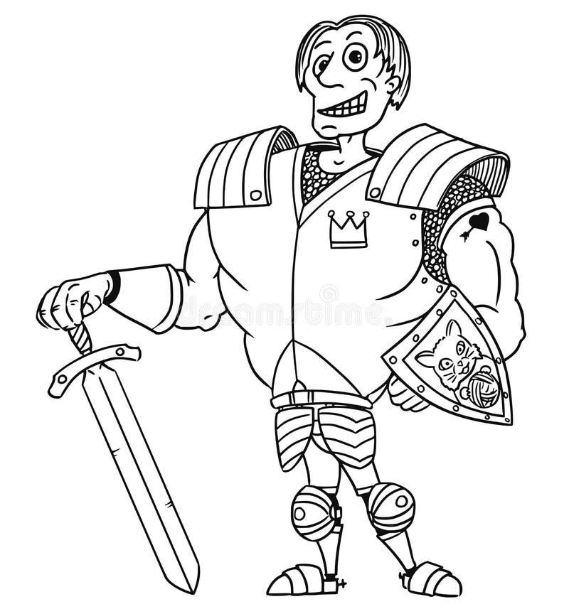 Caballero medieval Prince del héroe de la fantasía del vector de la historieta stock de ilustración