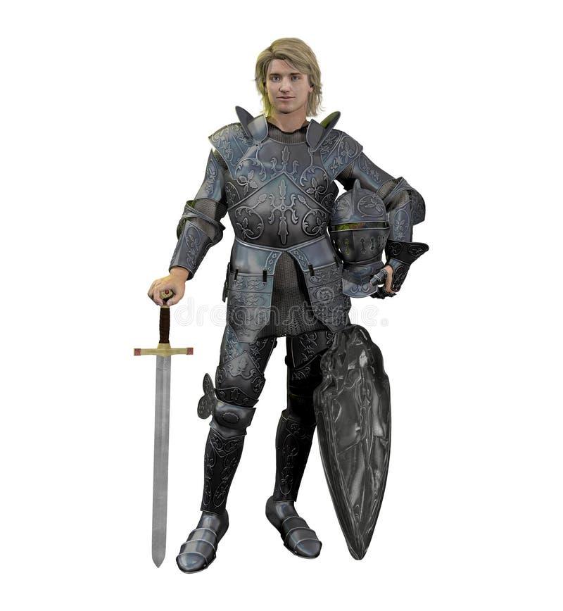 Caballero medieval rubio en armadura de la batalla stock de ilustración