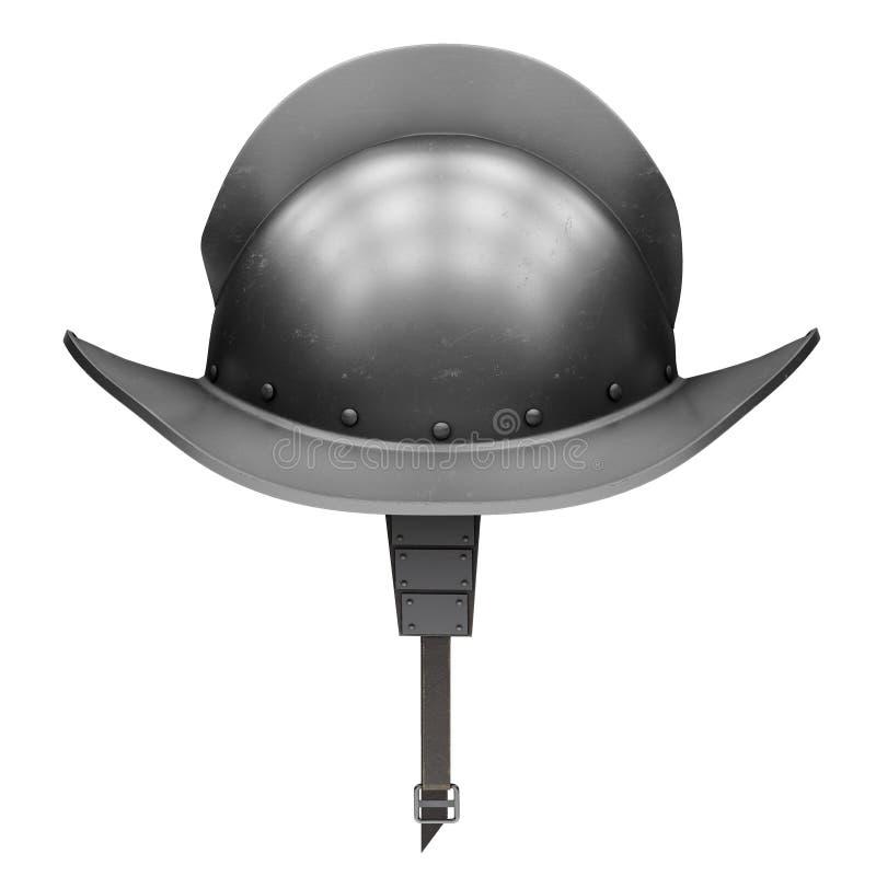 Caballero medieval Spanish Morion Helmet stock de ilustración