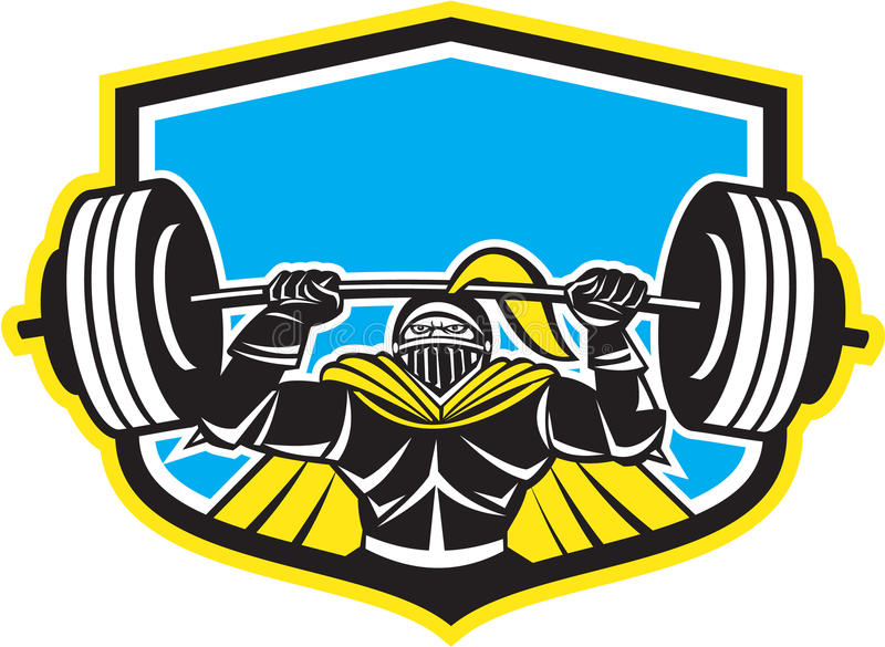 Caballero negro Lifting Barbell Front Shield Retro ilustración del vector