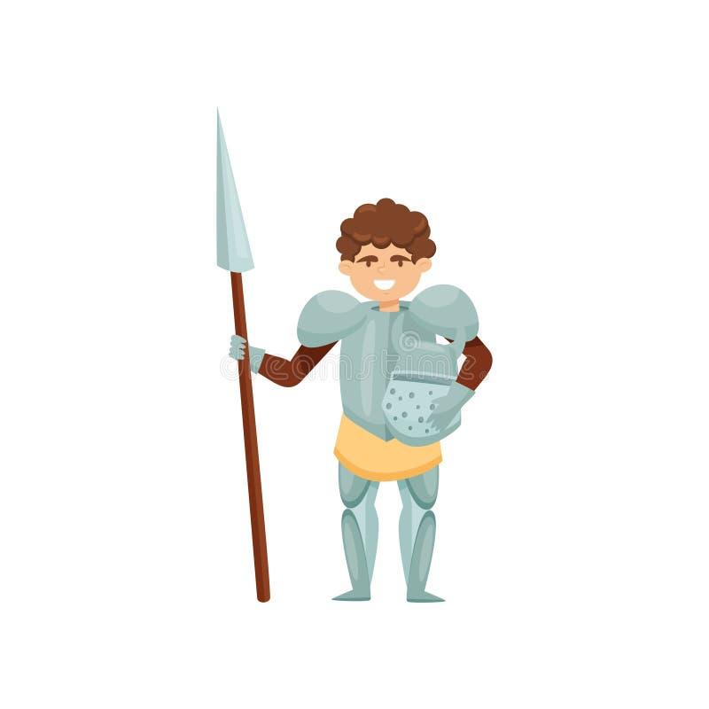 Caballero sonriente con la lanza y casco en manos Guerrero real en armadura del metal Soldado medieval valiente Diseño plano del  stock de ilustración