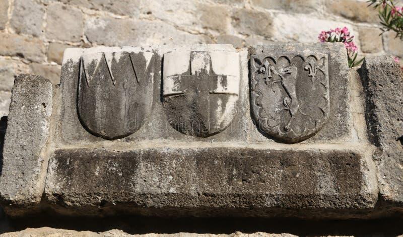 Caballero Symbols en el castillo de Bodrum foto de archivo