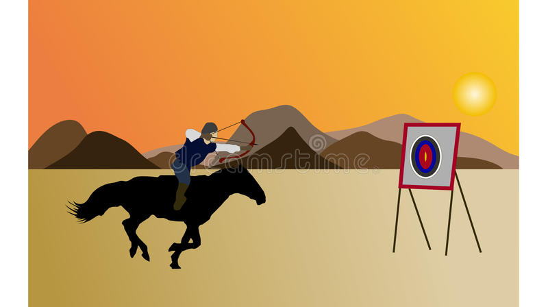Caballero y arquero en los flatlands stock de ilustración