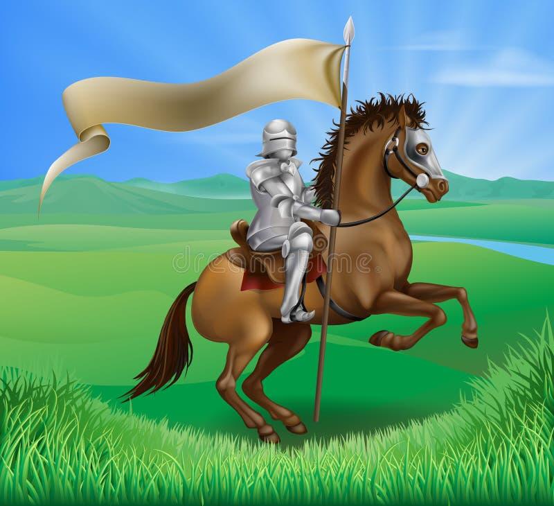 Caballero y caballo con la bandera libre illustration