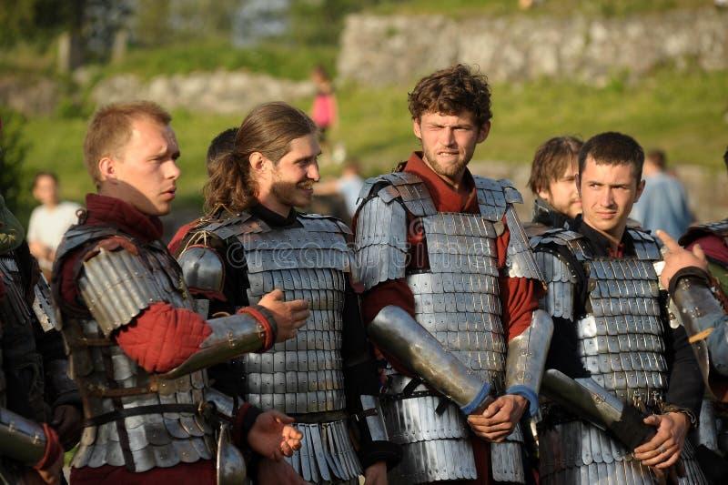 Caballeros en armadura fotos de archivo