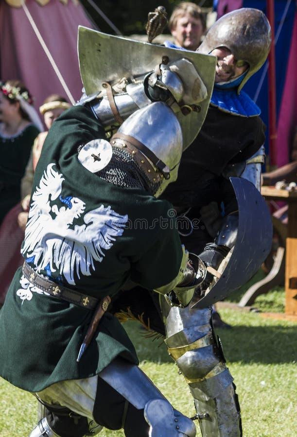 Caballeros en batalla Exhibición medieval Warkworth, Northumberland inglaterra Reino Unido foto de archivo libre de regalías