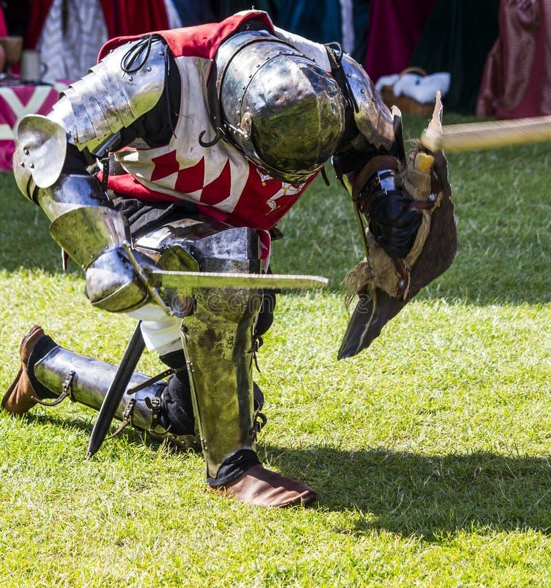 Caballeros en batalla Exhibición medieval Warkworth, Northumberland inglaterra Reino Unido imagen de archivo