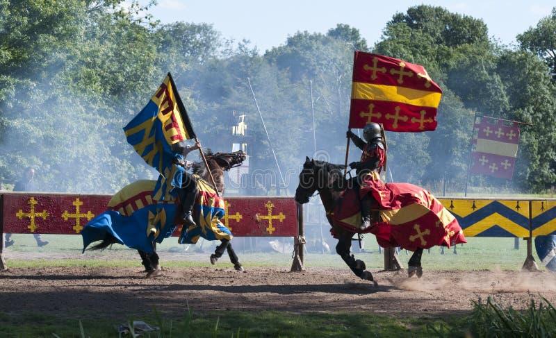 Caballeros medievales en el castillo de Warwick foto de archivo libre de regalías