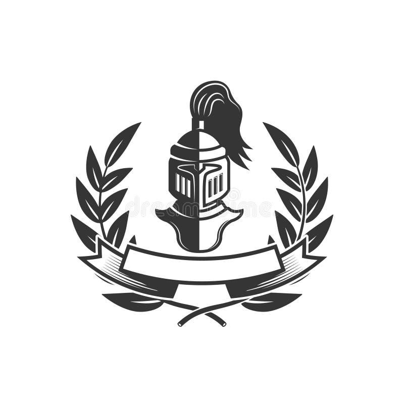 caballeros Plantilla del emblema con el casco medieval del caballero Diseñe el elemento para el logotipo, etiqueta, emblema, mues libre illustration