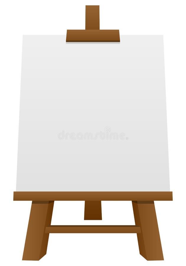 Caballete de madera con la lona en blanco ilustración del vector