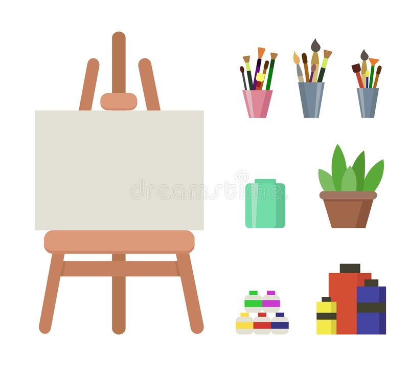 Caballete de madera con la lona, las pinturas y los cepillos blancos ilustración del vector