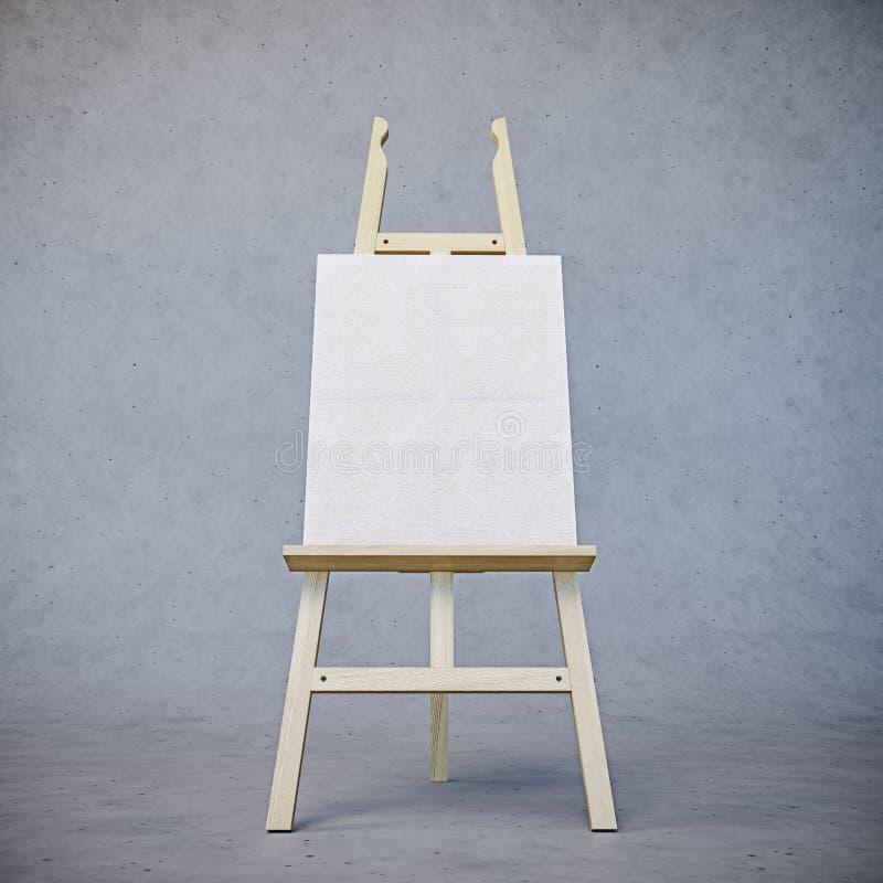 Caballete de madera de pintura del soporte con el tablero en blanco de la muestra del cartel de la lona aislado en fondo concreto fotos de archivo libres de regalías