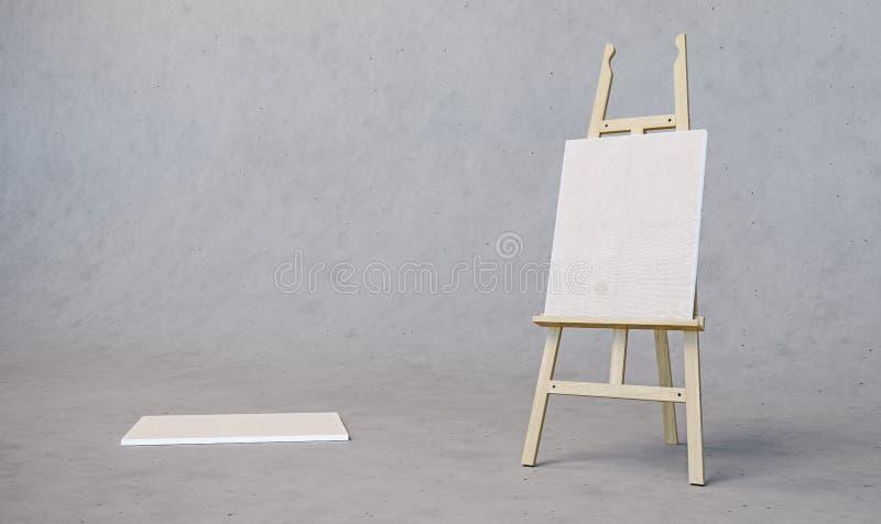 Caballete de madera de pintura del soporte con el tablero en blanco de la muestra del cartel de la lona aislado en fondo concreto imágenes de archivo libres de regalías