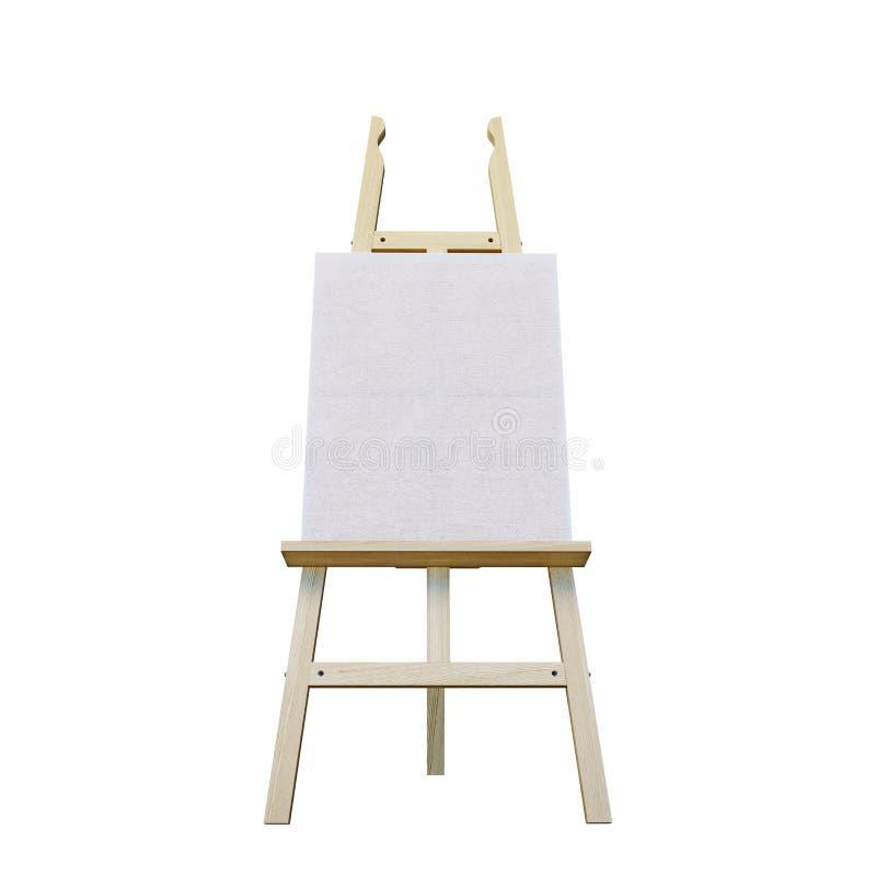 Caballete de madera de pintura del soporte con el tablero en blanco de la muestra del cartel de la lona aislado en el fondo blanc fotografía de archivo libre de regalías