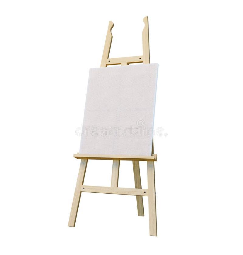 Caballete de madera de pintura del soporte con el tablero en blanco de la muestra del cartel de la lona aislado en el fondo blanc foto de archivo libre de regalías