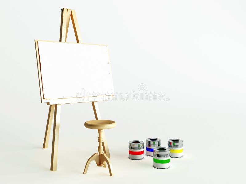 Caballete y pinturas fotografía de archivo