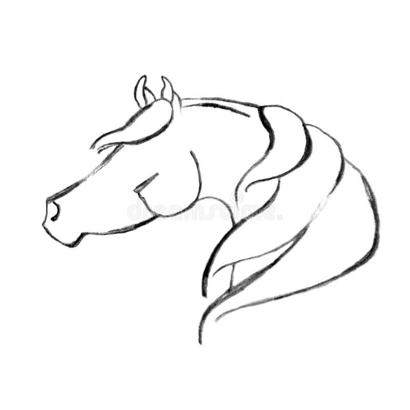Caballo árabe drenado mano estilizada libre illustration